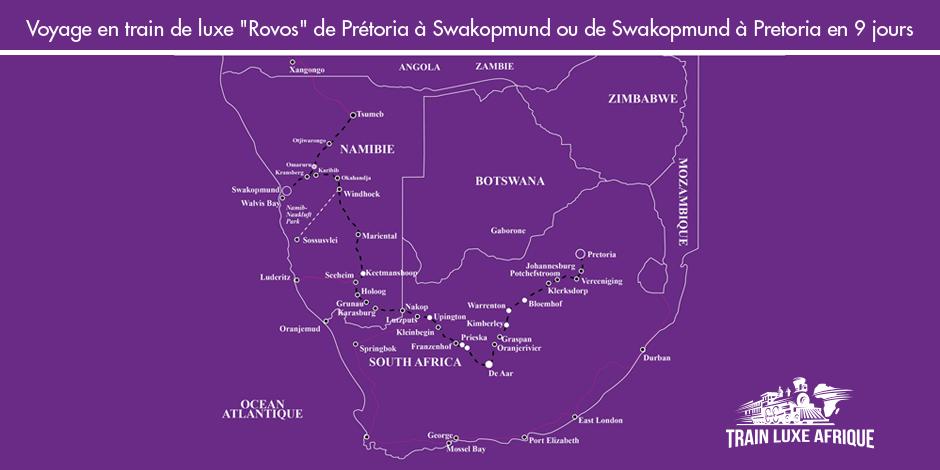 Carte - Itinéraire du train Rovos de Pretoria à Walvis Bay - Safari Namibien